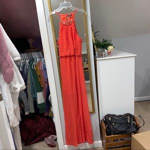 Lily Rose Maxi Dress Coral w/ Gold Necklace Detail
